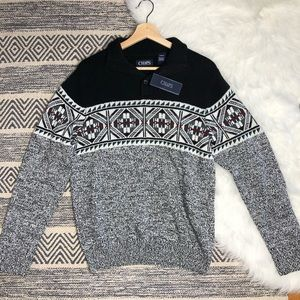 Chaps gray and black knit sweater with buttons
